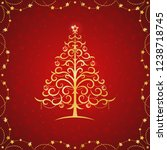 card with golden stylized... | Shutterstock .eps vector #1238718745