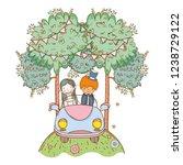 wedding couple on car cute...   Shutterstock .eps vector #1238729122