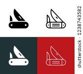pocket knife icon set | Shutterstock .eps vector #1238743582