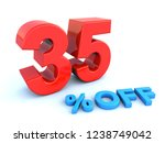 big red glossy 35 percent off... | Shutterstock . vector #1238749042