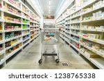 supermarket aisle with empty...   Shutterstock . vector #1238765338
