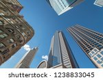 Stock photo upward view of skyscrapers against blue sky in the business district area of downtown dallas texas 1238833045