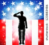 A US military armed forces soldier in silhouette saluting in front of an American flag background
