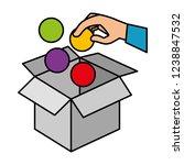 hand insert ball in box carton | Shutterstock .eps vector #1238847532