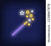 magic wand with stars neon sign.... | Shutterstock .eps vector #1238867878