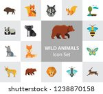 Stock vector wild animals icon set bear paw trace koala hare lynx fox squirrel panda squirrel with nut kangaroo 1238870158