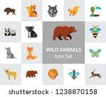 Stock vector wild animals icon set bear paw trace koala hare lynx fox squirrel panda squirrel with nut kangaroo 1238870158