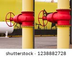 two yellow pipes with valves.... | Shutterstock . vector #1238882728