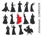 set of women in dress stay in... | Shutterstock . vector #1238902378