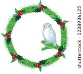 watercolor christmas wreath... | Shutterstock . vector #1238936125