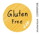 gluten free labels yellow color ... | Shutterstock .eps vector #1238989108