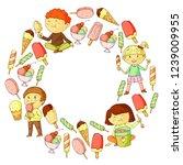 small children eating ice cream.... | Shutterstock .eps vector #1239009955