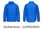 blank template blue down jacket ... | Shutterstock . vector #1239023632