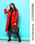 fashion woman in red coat.... | Shutterstock . vector #1239048988