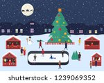 christmas market with people ... | Shutterstock .eps vector #1239069352