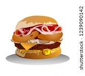 fast food. hamburger. vector... | Shutterstock .eps vector #1239090142