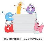 illustration of vowel mascots... | Shutterstock .eps vector #1239098212