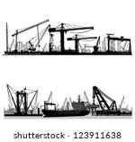 Shipyard  Harbor Skyline Vector ...