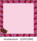 frame with valentine roses  ... | Shutterstock .eps vector #123912082
