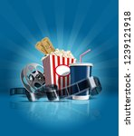 cinema poster with popcorn ... | Shutterstock .eps vector #1239121918