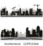highway silhouette .city skyline | Shutterstock .eps vector #123912466