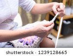 woman doing needlework at home | Shutterstock . vector #1239128665