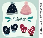 set of winter fashion. hat and... | Shutterstock .eps vector #1239151798