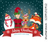 christmas card with cute elf ... | Shutterstock .eps vector #1239151912