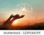 abstract science. hand holding... | Shutterstock . vector #1239166195