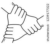 three hands together. vector... | Shutterstock .eps vector #1239177322