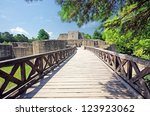 medieval ruins of suceava... | Shutterstock . vector #123923062