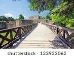 medieval ruins of suceava... | Shutterstock . vector #123923062