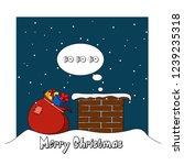 santa claus climbs into the...   Shutterstock .eps vector #1239235318