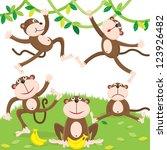 Cartoon Monkey Set