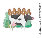 cow farm animal with garden and ... | Shutterstock .eps vector #1239279832
