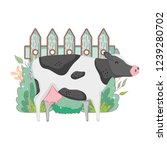 cow farm animal with garden and ... | Shutterstock .eps vector #1239280702