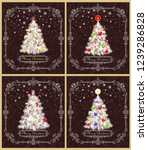 greeting retro xmas cards... | Shutterstock .eps vector #1239286828