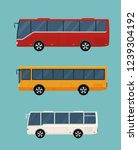 three buses isolated on blue... | Shutterstock .eps vector #1239304192