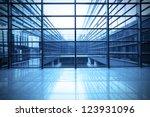 modern blue glass wall of... | Shutterstock . vector #123931096
