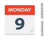 monday 9   calendar icon.... | Shutterstock .eps vector #1239323155