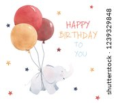 cute childish greeting card ... | Shutterstock . vector #1239329848