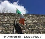 Stock photo irish flag flying in the wine in kilmainham gaol in dublin ireland 1239334078
