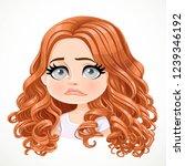 beautiful upset sad cartoon... | Shutterstock .eps vector #1239346192