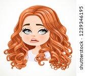 beautiful tired cartoon... | Shutterstock .eps vector #1239346195