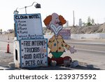 Small photo of Clown Motel sign in Tonopah Nevada, is a kitschy roadside attraction and is said to be haunted. July 4 2018 - TONOPAH, NEVADA