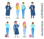 happy and sad graduates set... | Shutterstock .eps vector #1239381622