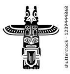 Black Silhouette. Indian Totem...