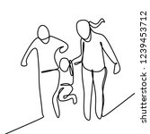 family one line drawing vector... | Shutterstock .eps vector #1239453712