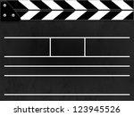 clapper board or slate black... | Shutterstock . vector #123945526