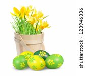 Easter Eggs And Crocuses On Th...